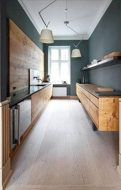 modern oak galley kitchen   dinesen
