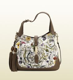 Gucci - new jackie flora canvas shoulder bag