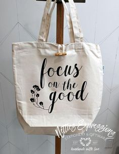 Recycled Cotton Tote Bag - Focus on the good Jute Tote Bags, Canvas Tote Bags, Cotton Tote Bags, Reusable Tote Bags, Printed Tote Bags, Vinyl Designs, Bag Making, Cotton Canvas, Purses