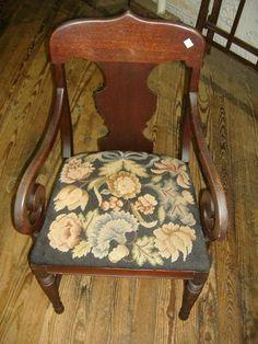 Mahogany Art Nouveau Needlepoint Parlor Arm Chair Vintage Antique | eBay