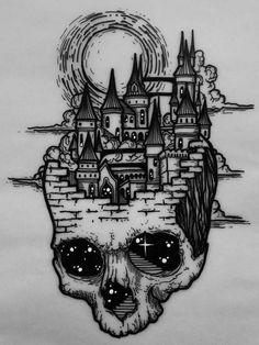 Dark Art Drawings, Tattoo Design Drawings, Art Drawings Sketches, Tattoo Sketches, Creepy Sketches, Castle Tattoo, Fantasy Tattoos, Skeleton Art, Tattoo Flash Art