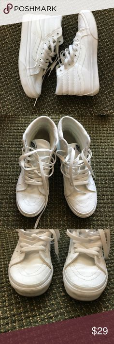 Vans Old White High Tops Great condition, only worn a few times. flaws are pictured, accepting reasonable offers! Size 6.5 womens, 5 men's! Vans Shoes