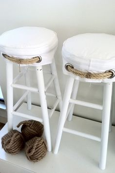 Such cute slipcovers for an ordinary stool. Would be cool with blue/white striped material or distressed blue legs. Plus easy to clean when children visit during summer break. Beach Cottage Style, Coastal Cottage, Beach House Decor, Coastal Style, Coastal Living, Coastal Decor, Home Decor, Southern Living, Nautical Design