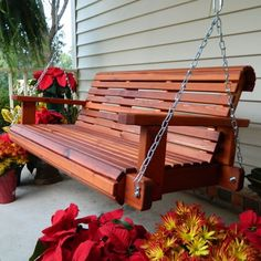 Southern Swings Rollback Red Cedar Porch Swing With Chains