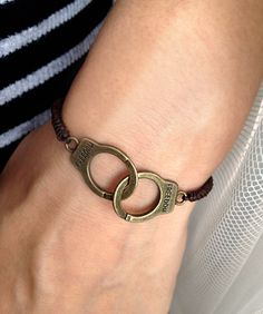 Dark Brown ropes With Copper FREEDOM Handcuffs Charm by pier7craft, $6.50