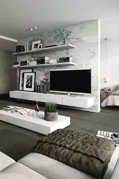 tv wall modern living room decorliving - Ideas For Decor In Living Room