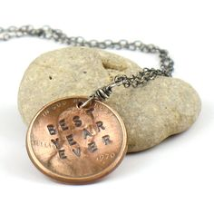 BEST YEAR EVER Stamped Penny Necklace Oxidized Silver. $34.00, via Etsy.    I need to see if I can get it a bit more masculine looking for Jeff. And then the question; What year?