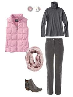 outfit with a pink down vest, grey turtleneck and grey corduroy pants Simple Outfits, Fall Outfits, Casual Outfits, Winter Vest Outfits, Casual Attire, Work Outfits, Fall Capsule Wardrobe, Winter Wardrobe, Red Vest