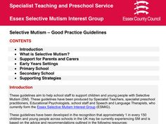 Do you know a child with SM in Essex, UK ? Want to know where to start ? These guidelines will help you.