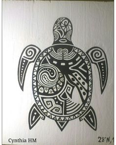 Tortuga de inspiración maorí en madera u acrílico.