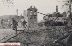 Kleingemünden. This part of town suffered particularly heavily, as it was fought over twice, the first time being when Task Force Baum was diverted here by blown bridges. The M4A3E8 tank in this photo is one of TF Baum's tanks that was immobilized near the western side of the Saale River bridge (LT Raymond Keil, C Co., 37th Tank Battalion). The infantrymen seen here were from the 19th Armored Infantry Battalion, Combat Command B, 14th Armored Division