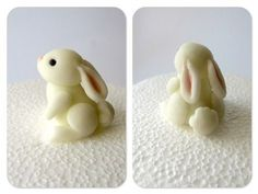 Here's an adorable cake decorating tutorial(English translation) with a super cute bunny sculpt that would totally work for polymer clay. Use similar coloured and shaped pieces of clay to mak… - Crafts Are Fun Fimo Clay, Polymer Clay Charms, Polymer Clay Projects, Polymer Clay Creations, Polymer Clay Art, Clay Crafts, Polymer Clay Tutorials, Polymer Clay Figures, Polymer Clay Animals