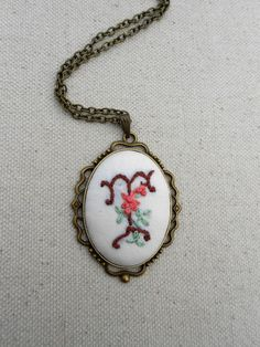 Hand embroidered initial pendant Vintage style monogram pendant Custom jewelry gifts for mom Personalized initial necklace & Witch costume jewelry Victorian gothic ring by RedWorkStitches ...