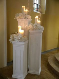 Resultado de imagen para how to make DIY lighted wedding columns Church Wedding Decorations, Wedding Centerpieces, Wedding Church, Centerpiece Decorations, Flower Centerpieces, Flower Arrangements, Rustic Wedding, Wedding Pillars, Columns Decor