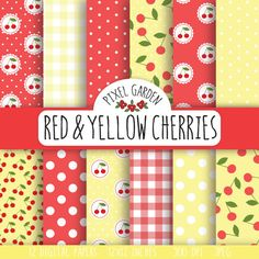 Instant download digital paper pack with vintage inspired shabby chic designs in baby blue, red and white with patterns of cherries, polka dots
