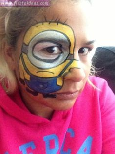 Minion Birthday Party Face Paint and Makeup Ideas Superhero Face Painting, Girl Face Painting, Body Painting, Minion Theme, Minion Birthday, Minion Party, Minion Face Paint, Minion Nail Art, Minion Centerpieces