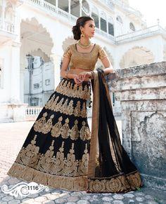 Spectacular Bhagalpuri Silk Embroidered, Patch Border and Zari Blue Lehenga Choli