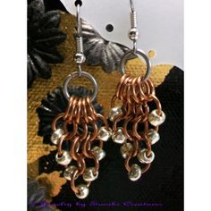 European 4in1 Chainmaille Weave Earrings. Featuring Bronze, Stainless Steel and Silver Czech Glass 6/0 Seed beads.    Surgical Stainless Steel fishhook earwires  Width: 15mm  Length from top of earwire: 2.0-inch (5.0cm)