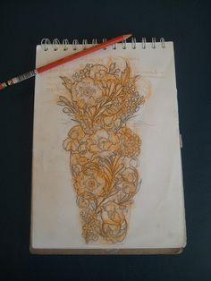 Pretty flower half sleeve tattoo design