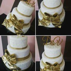 Golden fondant ribbon, wedding cake