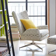 Hemming Swivel Armchair #westelm I like these because they swivel so they can face each other with an ottoman in between