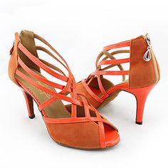 Women s Latin Shoes   Ballroom Shoes Velvet Heel Customized Heel  Customizable Dance Shoes Orange 9fde2549452d