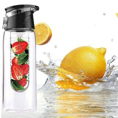 fruit infuser water bottle sports fitness health detox bottle flip lid lemon juice make bottle Fruit Water Bottle, Drinking Water Bottle, Bpa Free Water Bottles, Fruit Infused Water, Infused Water Bottle, Lemon Juice Water, Fruit Juice, Fresh Fruit, Bottle Flip