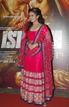 Huma Qureshi in Pink Anarkali at Dedh Ishqiya  Premiere