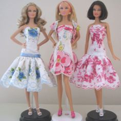 Flirty party dresses for Barbie made from vintage hankies