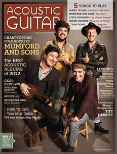 Mumford & Sons are featured on the cover of the February 2013 issue of Acoustic Guitar Acoustic Guitar Magazine, Acoustic Guitars, Guitar Chords, Marcus Mumford, Mumford Sons, Steve Goodman, Awake My Soul, Bluegrass Music, Gal Pal