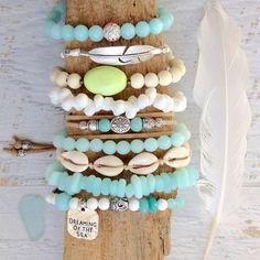 beachcomber bohemian bracelet stack beach coastal style aqua sea jewelry