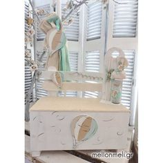 "Set βάπτισης παγκάκι ""Αερόστατο"" Hot Air Balloon, Christening, Toddler Bed, Balloons, Baptism Ideas, Clay, Furniture, Home Decor, Child Bed"