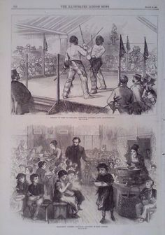 1870 PRINT HALFPENNY DINNERS FOR POOR CHILDREN OF EAST LONDON - ASSAULT OF ARMS #Realism