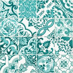 148635 chalk printed eco texture non woven wallpaper Tile effect Turquoise