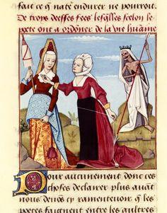 Fates.  «Le Livre des échecs amoureux moralisés», 1496-1498, by Robinet Testard.