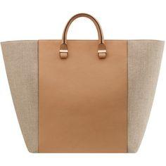 Victoria Beckham  Linen And Leather Shopper