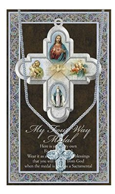 Pewter Four Way Medal Cross on 18 Chain and Embossed Pamphlet and Prayer by WJ Hirten -- Awesome products selected by Anna Churchill