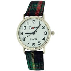 Boxx Unisex Children's Analogue Green Tartan Fabric Strap Buckle Funky Watch. A simple and sturdy wrist watch for boys, this is a high functioning timepiece which is suitable for every day wear. This watch is the ideal gift for him or her. Product Features: * Quartz Movement. * Black hour and minute and second hand. * White dial. * Stainless steel case back. Strap Measurements: This watch fastens with a buckle on any of the 7 holes. * Length from one end of strap till other end is 21cm. *...