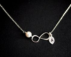 Initial leaf Infinity necklace with pearl STERLING SILVER by untie, $29.50