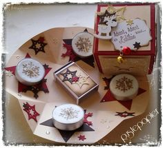 """Pustepapier : Pop up Box """"Adventskranz to go"""" Mehr Christmas Time, Christmas Crafts, Christmas Ideas, Exploding Box Card, Diy And Crafts, Paper Crafts, Advent Candles, Advent Wreath, Light Crafts"""