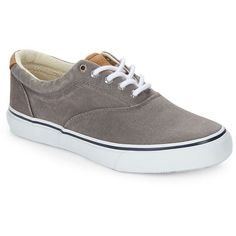 Sperry Striper LL Canvas Lace-Ups ($65) ❤ liked on Polyvore featuring men's fashion, men's shoes, grey, mens grey shoes, mens gray dress shoes, mens canvas shoes, sperry mens shoes and mens lace up shoes