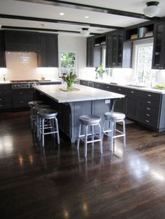 Elegant Room With Dark Wood Flooring: Amazing Dark Wood Flooring Installed  In Contemporary Kitchen Design Also Huge Modern Island Also Small Aluminum  ...