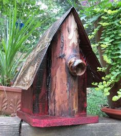 Nestlings are super-safe with this natural predator guard! Rustic birdhouse is handcrafted in North Georgia from reclaimed materials and aged tin. An awesome nest site and roosting spot for feathered