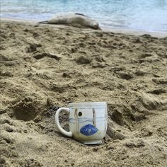 I had a sweet little relaxation session with a monk seal today. To learn why this mug is following me around Hawaii + how to WIN it visit my Instagram : @lauriecaffery.clay