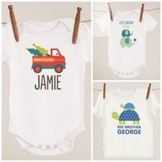 Adorable personalized t-shirts, onesies, and bibs...love the cute designs for boys (so hard to find these days!) #giftsbybsk