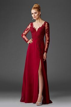 a01f3283c908 Burgundy bridesmaid dresses with lace sleeves  affiliate Long Sleeve  Chiffon Dress