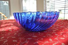 Cobalt Blue Vintage Bowl  Fruit Bowl  Blue Bowl  by HavenTreasures