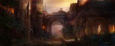 deviantart gate fantasy concept titus lunter arena entrance landscape paintings digital medieval painting festival desert landscapes fantastical series sci fi