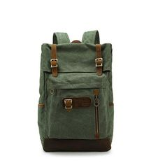 Vintage Canvas Leather Rucksack Daypack Laptop Knapsack for 14 Inch Travel Bag,31 x 45 x 16cm(W x H x D): Amazon.co.uk: Computers & Accessories