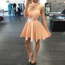 2016 Novo Estilo Moda Verão Senhora Do Escritório Vestido Midi Elegante A Linha de Mulheres Trabalho Desgaste Vestido de Renda sem encosto alishoppbrasil